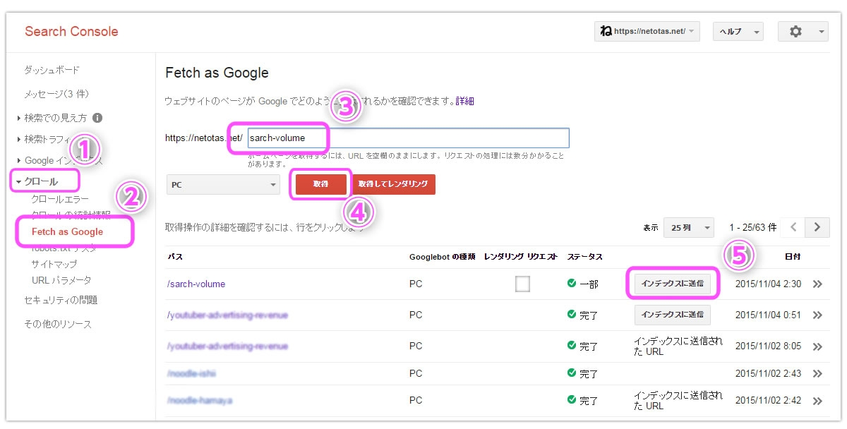Fetch as google search console for Search console