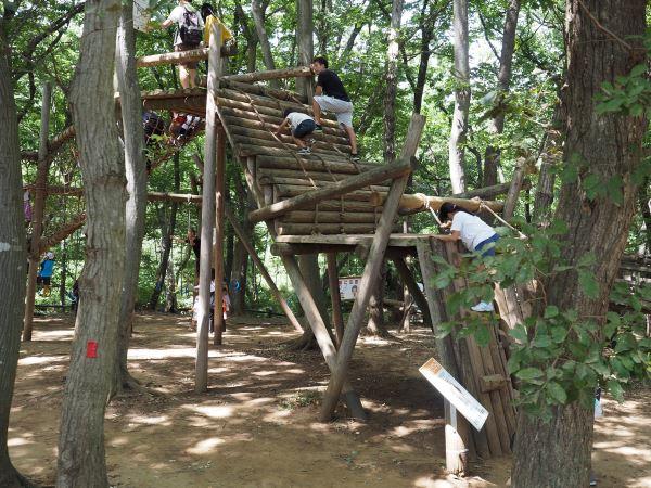アンデルセン公園の木製アスレチック
